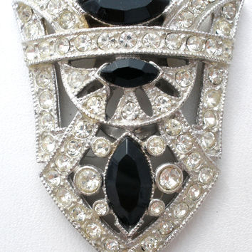 Black & Clear Paste Rhinestone Dress Clip Vintage