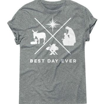 Best day ever T-Shirt Women Casual Slogan Graphic Tee Christmas Deer Best Tops Cotton Vintage Grunge Aesthetic Outfits Drop Ship