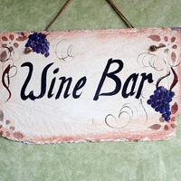 Wine bar sign hand painted on antique slate
