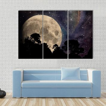 A Night Sky With Moon And Trees Multi Panel Canvas Wall Art