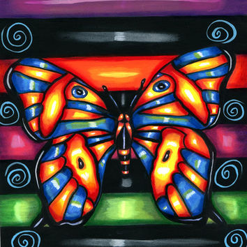 original Folk Art Painting, Neon Butterly animal modern original acrylic painting wall art colorful