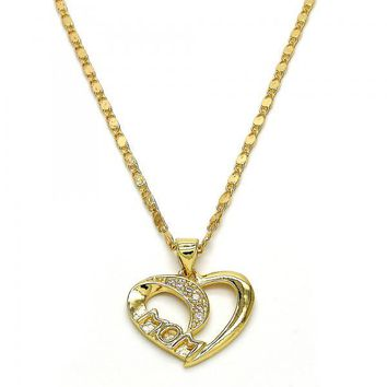 Gold Layered 04.63.1277.18 Fancy Necklace, Mom and Heart Design, with White Micro Pave, Polished Finish, Golden Tone