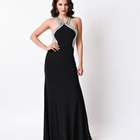 Black Sexy Fitted Halter Cutout Long Dress 2016 Prom Dresses