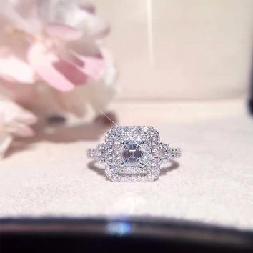 18K Princess Halo Ring