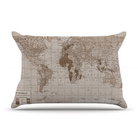 "Catherine Holcombe ""Emerald World"" Vintage Map Pillow Case"