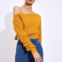 Mustard Slash Neck Jumper