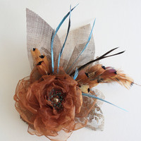 Copper Turquoise Fascinator Headpiece Bridal Special Occasion Head Piece, Feathers, Wedding Hair Accessories Wedding Hair Comb, Cocktail Hat