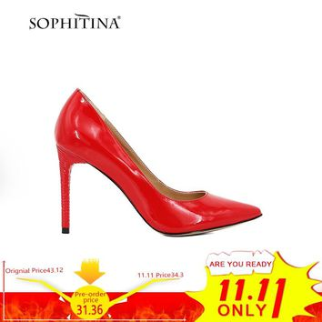 SOPHITINA Sexy Shoes Pump Super High Heel Genuine Patent Leather Pump Fashion Party Wedding Shallow Elegant Office Lady Shoe D54