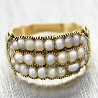 1820s Original Antique Georgian 18k Solid Yellow Gold Seed Pearl Ring
