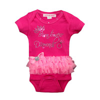 Born to Wear Diamonds Hot Pink Bodysuit with Pink Tutu FREE SHIPPING newborn baby girl princess baby bodysuit pink and hot pink tutu
