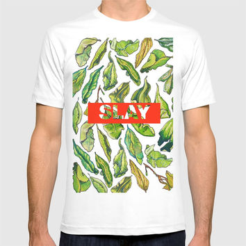 slay tea slay! // watercolor tea leaf pattern with millennial slang T-shirt by Camila Quintana S
