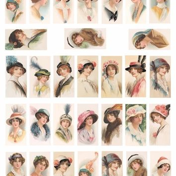 Vintage Ladies flapper girls hats 1920s 1930s fashion clip art collage sheet 1x 2 INCH dominos