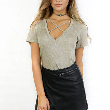 With or Without You Taupe Short Sleeve Top