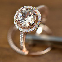 Two- Rings Set! 8mm VS Halo  Morganite Ring 14K Rose Gold with  Diamonds engagement ring match band, Promise Ring