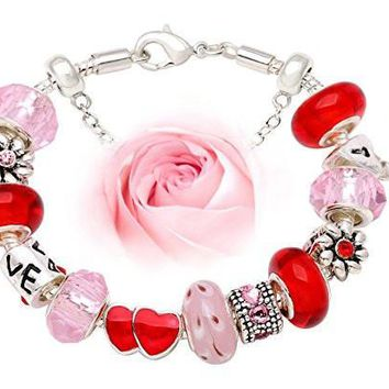 """Love Holds Our Hearts Together Bracelet"" Rose Red and Sweet Pink charm bead Bracelet"