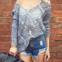 Sliding Hollow Sweater - Grey