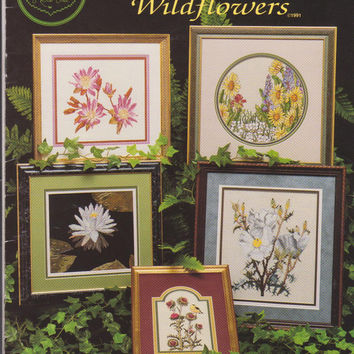 Wildflowers counted cross stitch pattern booklet 12 charts for pictures, pillows and linens designed by Melinda for Cross My Heart Inc.