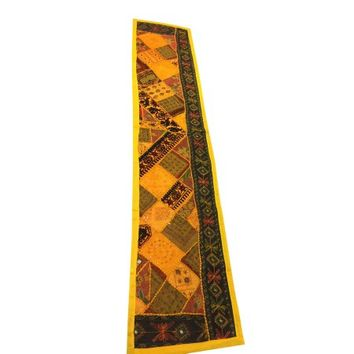 Mogul Decorative Table Runner Yellow Patchwork Embroidered Table Décor Tapestry - Walmart.com