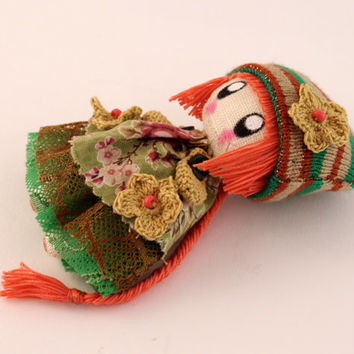 Textile brooch Zooey orange and green brooch doll jewerly for teen girls gift for her