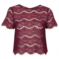 Scallop Lace Tee - Mulberry