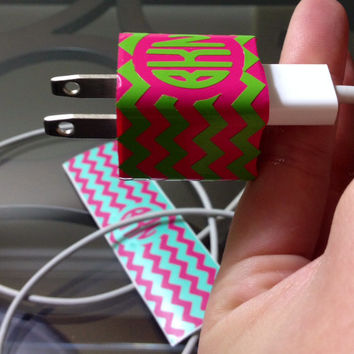 Monogram / Personalized / Custom iPhone Charger Wraps / Decal / Patterned / Chevron