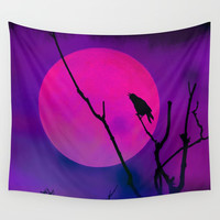 The Crow And The Pink Moon Wall Tapestry by minx267