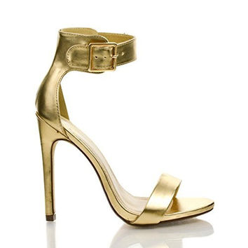 Canter Gold Pu by Delicious, Gold PU Delicious Women's Single Sole Ankle Strap High Heels