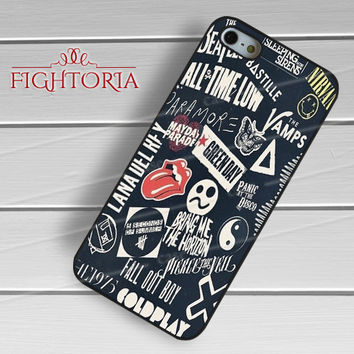 Band Logo Collage Blue - z321z for iPhone 6S case, iPhone 5s case, iPhone 6 case, iPhone 4S, Samsung S6 Edge