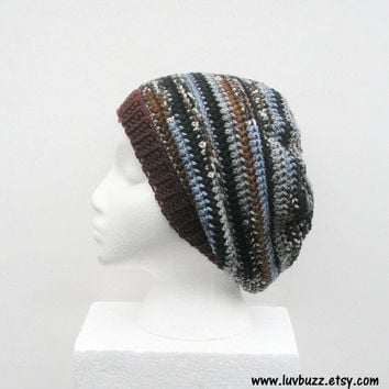 Unisex Slouch Hat  in black, grey, brown and light blue stripes, ready to ship.