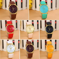 New Arrival Leather Geneva Women Dress Wristwatches man Woman Quartz Watch Cheap Geneva Girls Gift Popular Geneva relojes mujer