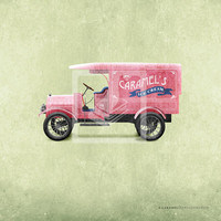Classic Vintage Style Pink Ice Cream Truck Room Wall Art Print by Caramel Expressions