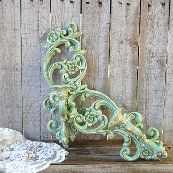 Candle Sconces, Shabby Chic, Green, Gold, Sage Green, Vintage, Homco, Upcycled