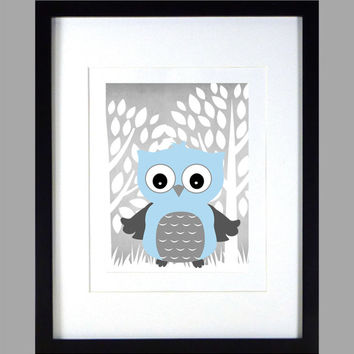Light Blue Owl in White Gray Enchanted Forest Print nursery decor art baby room decor print wall decor baby boy kids wall art Owl Print 8x10