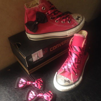 Girls high top crystal converse made with swarovski converse, bling !sparkle converse , high top pink converse crystaled size 10.5