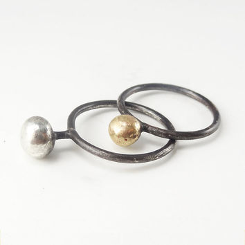 "RING ""Galaxy /  VENUS and MARS"" in Sterling Silver and Gold metal. Modern, Minimalistic and Rustic. Hammered, Forged, Stackable."