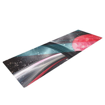 "Infinite Spray Art ""Geometric Mars"" Black Teal Red Yoga Mat"
