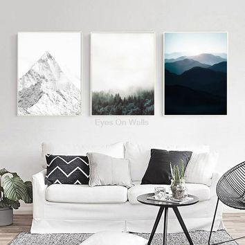 Nordic Landscape Poster Print Scandinavian Canvas Painting For Living Room Wall Picture Modern Art Home Decor 3 Piece No Frame