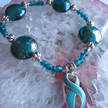 """Ovarian Cancer Bracelet (195)   6 1/4"""", support, for women, cancer awareness collection, unique visions by jen"""