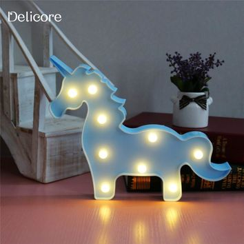 DELICORE Marquee Unicorn LED Letter Lamp 3D LED Baby Night Light Romantic Dim Mood Table Lamp for Kids Room Decoration S017-4