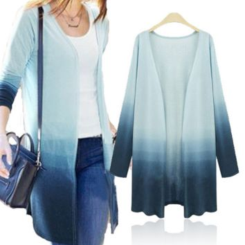 Block Long-Sleeve Long Cardigan