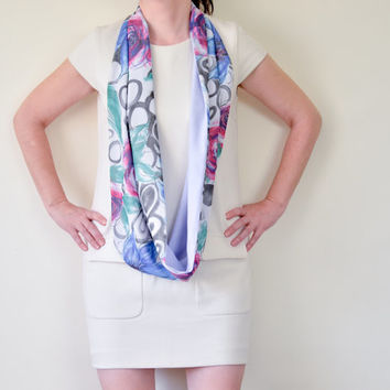 Two Sided Colorful Floral Lilac Reversible Infinity Circle Scarf  Women Accessories, Gift Ideas for Her