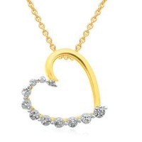 18k Gold Plated Sterling Silver Diamond Heart Pendant Necklace (1/10 cttw, ), 18""