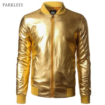 Trendy New Trend Metallic Gold Bomber Jacket Men/Women Veste Homme 2016 Night Club Fashion Slim Fit Zipper Baseball Varsity Jacket AT_94_13