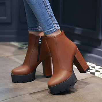 Zipper Ankle Boots High Heels Motorcycle Boots Chunky Heel 7585