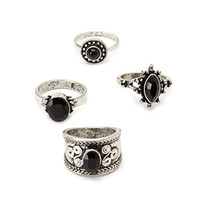 Burnished Faux Stone Ring Set