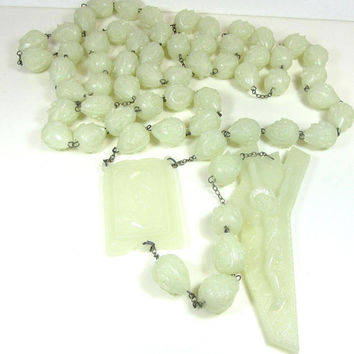 Vintage French, Rare,  Huge, Glow In The Dark, Fluorescent,  Rosary