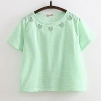 Sweet Pastel Heart Cutout Neckline Tee In 5 Colors