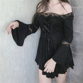 Gothic Lolita Dress Punk Women Girls Dark theme Harajuku Goth clothes Kustom kulture black back Front Bandage Jupe