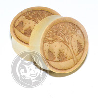 Snow Scene Engraved Wood Plugs