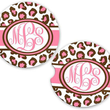 Personalized Monogrammed Car Coasters Pink Chocolate Leopard Cheetah, Cup Holder Coaster, Monogram Gift, Gift for Her Sandstone Coaster
